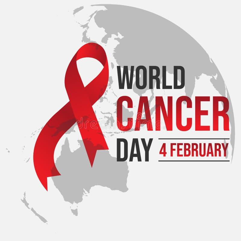World awareness cancer Day design illustration. World awareness ribbon of cancer. Preventive health care vector banner. Illustration of campaign day of cancer stock illustration