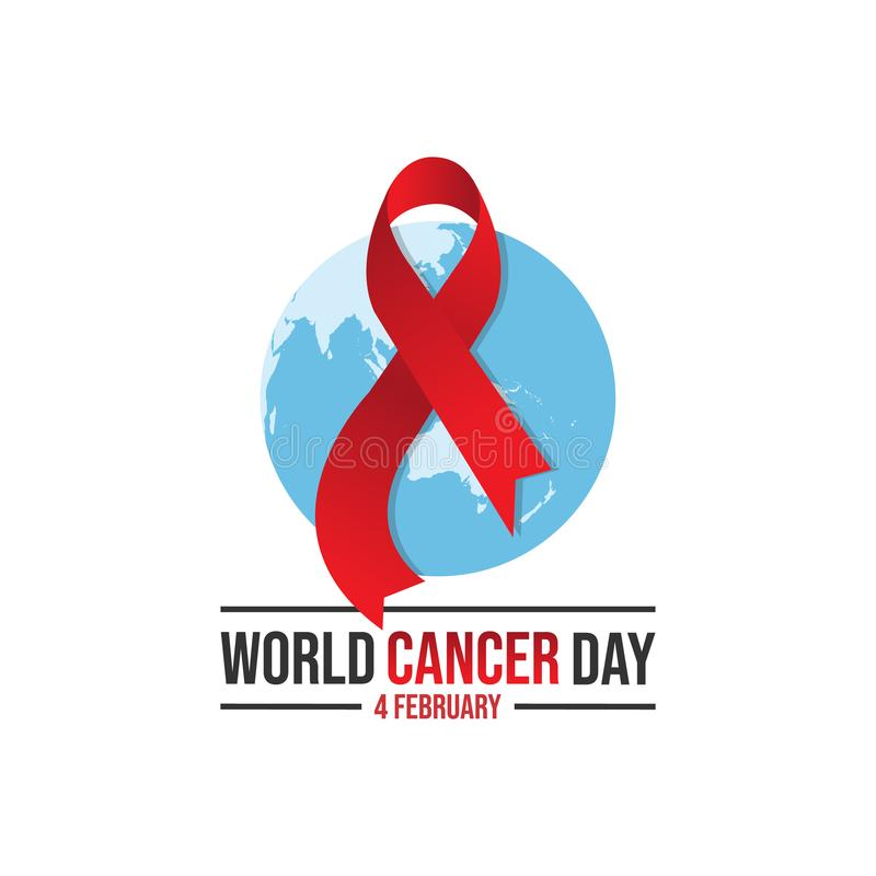 World awareness ribbon cancer day vector template. World awareness ribbon of cancer with helping hand vector. Illustration of campaign day of cancer world vector illustration