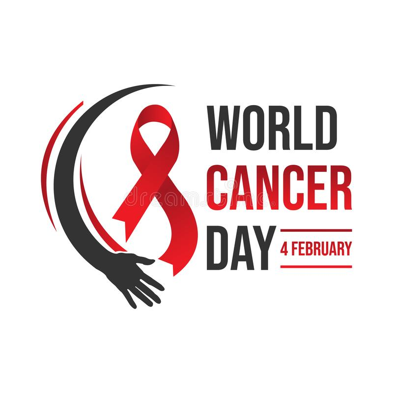 World awareness ribbon cancer day vector template. World awareness ribbon of cancer with helping hand vector. Illustration of campaign day of cancer world royalty free illustration