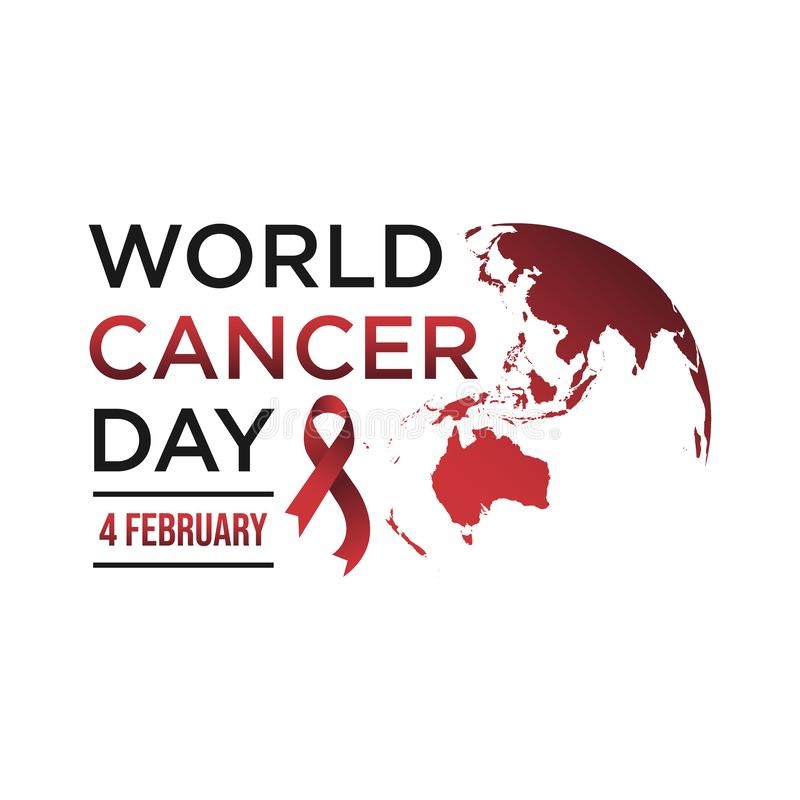 World awareness ribbon cancer day vector template. World awareness ribbon of cancer with helping hand vector. Illustration of campaign day of cancer world stock illustration