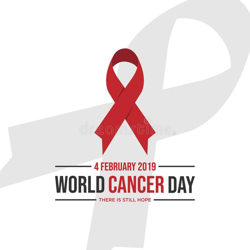 World awareness ribbon of cancer. Preventive health care vector banner. Illustration of campaign day of cancer world stock illustration