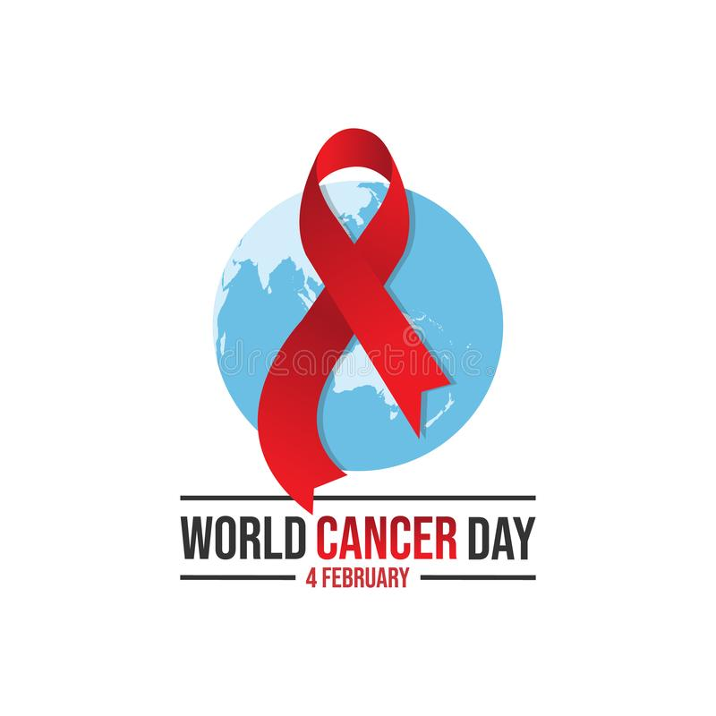 World awareness cancer Day design illustration. World awareness ribbon of cancer. Preventive health care vector banner. Illustration of campaign day of cancer royalty free illustration