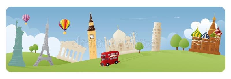 World Banners. Simple representations of various world landmarks on grassy banner scene stock illustration