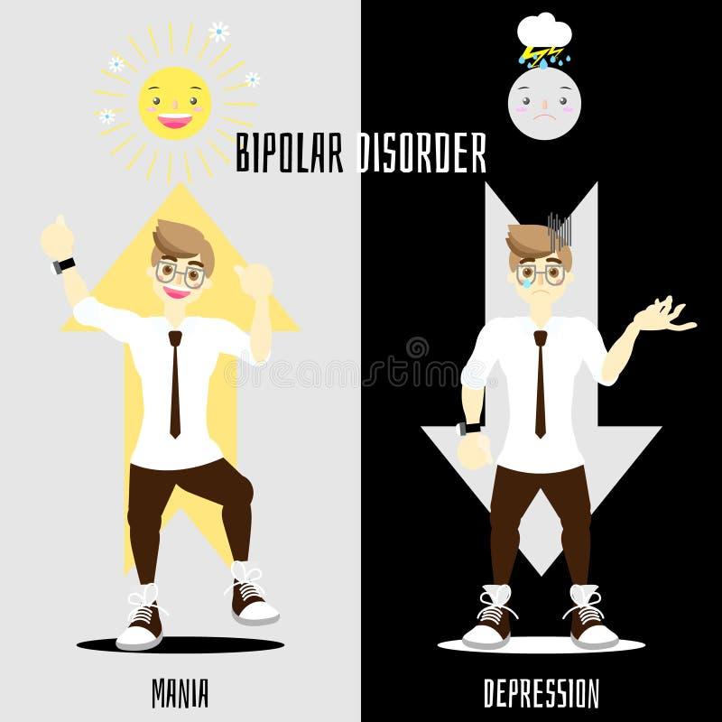World bipolar disorder day with man having mania and depression mood phase concept. Vector illustration cartoon flat character design clip art stock illustration