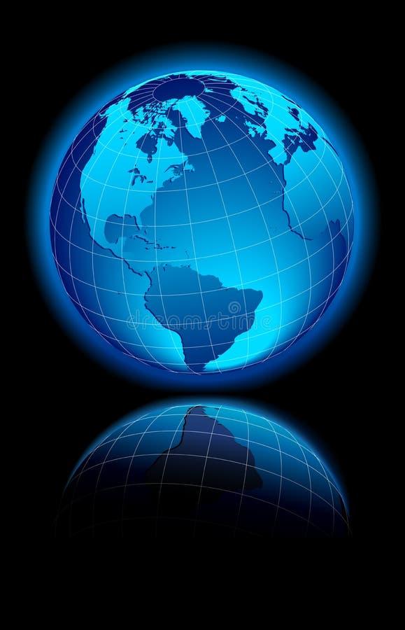 WORLD black background America, Europe stock illustration