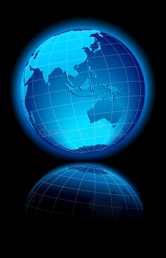 World on black background Australia & Asia vector illustration