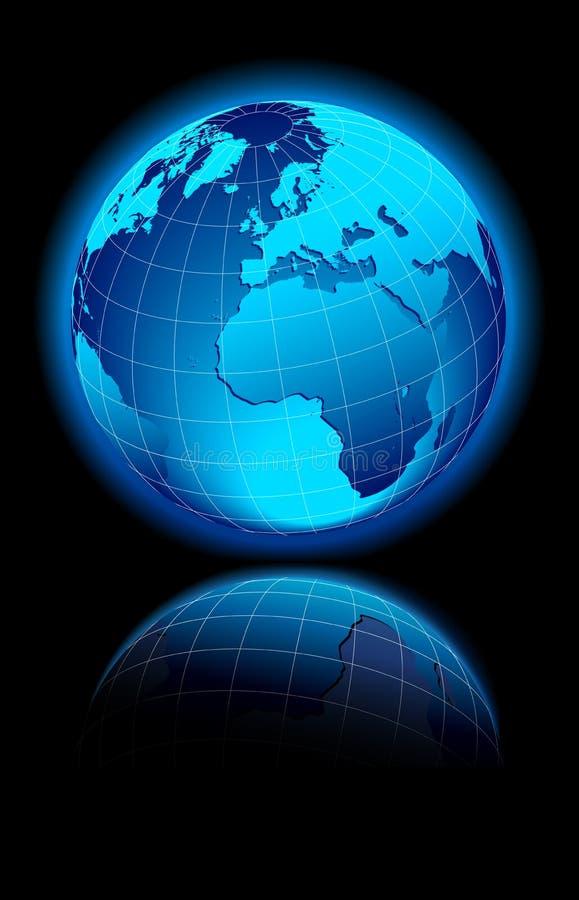 World on black background Europe & Afirca vector illustration