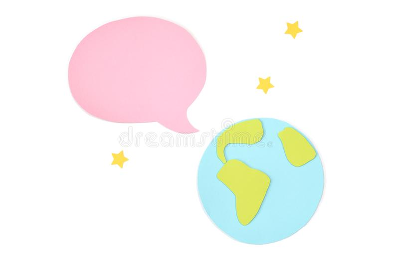 World with blank speech balloon paper cut on white background royalty free stock photo