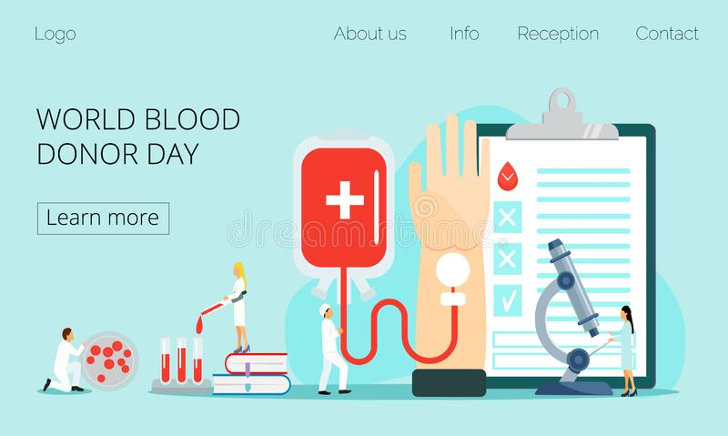 World blood donor day concept. With tiny doctor, blood donation. Medical illustration on June 14. It is for website, landing page, app, banner vector illustration