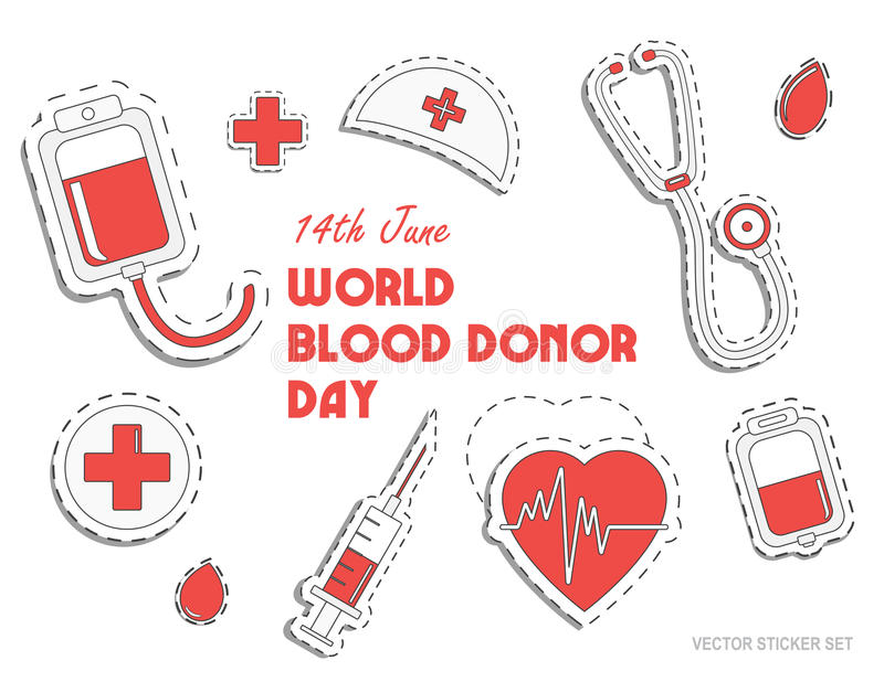 World blood donor day. International holiday. donate blood and save life. Donation give love. Vector. Sticker set. Pack of icons for design stock illustration