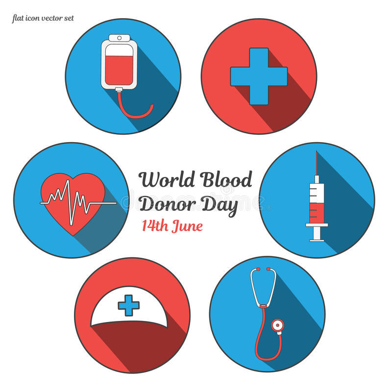 World blood donor day. International holiday. donate blood and save life. Donation give love. Vector ullustration. Sticker set. Pack of flat icons for design royalty free illustration