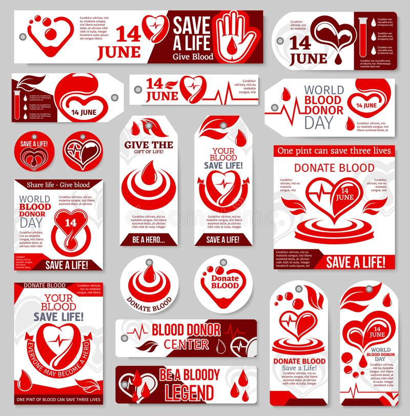 World Blood Donor Day tag, label and banner design vector illustration
