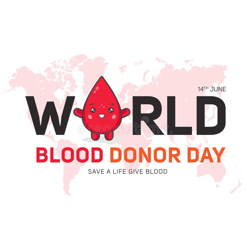World blood donor day advert. Word blood donor day advert with cartoon blood drop stock illustration