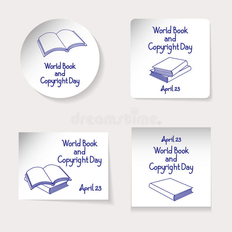 World Book and Copyright Day theme. Set of stickers or banners of different shapes: round, square, rectangle. Inscription and vari royalty free illustration
