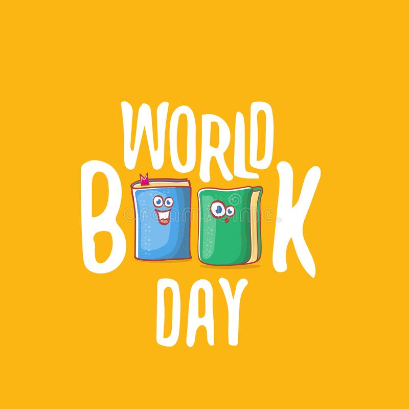 World book day greeting card with cartoon smiling book character isolated on orange background. Vector Book day label or. World book day greeting card with funky royalty free illustration