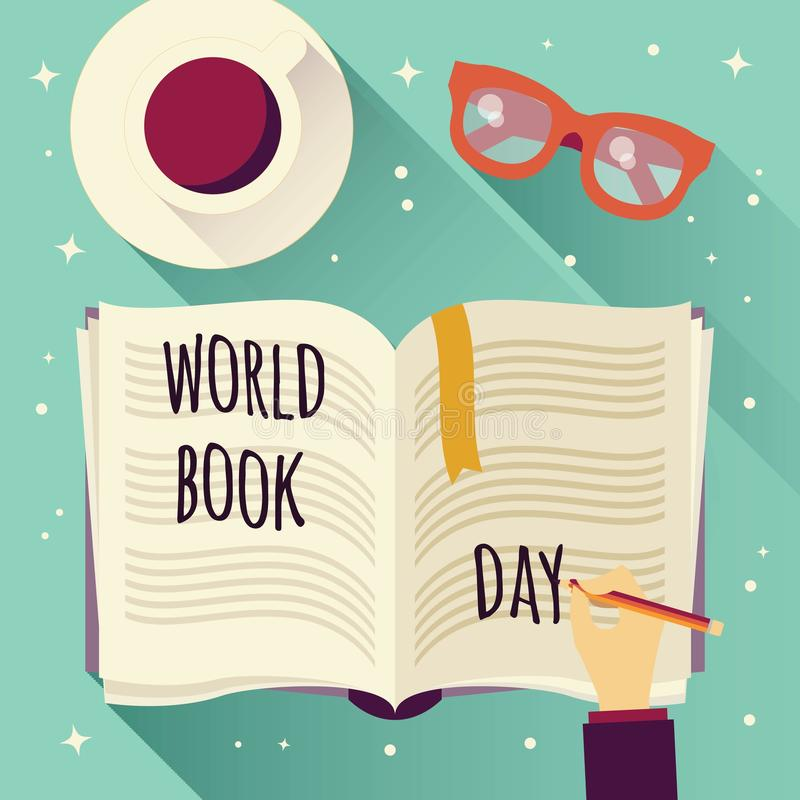 World book day, open book with a hand writing, coffee cup and glasses. Vector illustration stock illustration