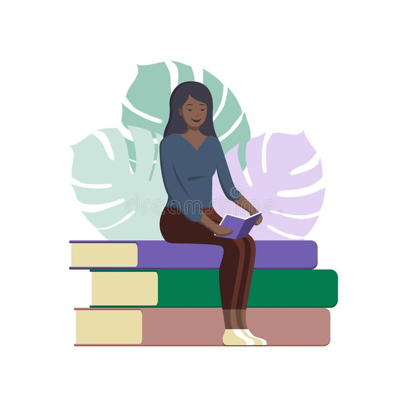 World book day poster. Young afroamerican woman reading a book, icon vector, book lover flat cartoon illustration, library logo royalty free illustration