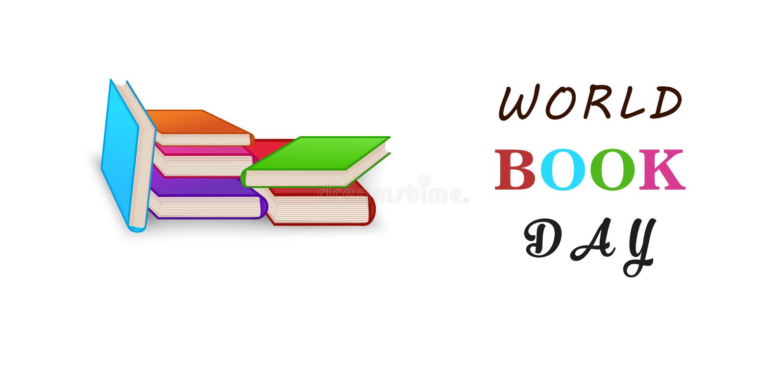 World book day. Stack of colorful books isolated on white background with copy space. Education vector illustration. World book day. Stack of colorful books vector illustration