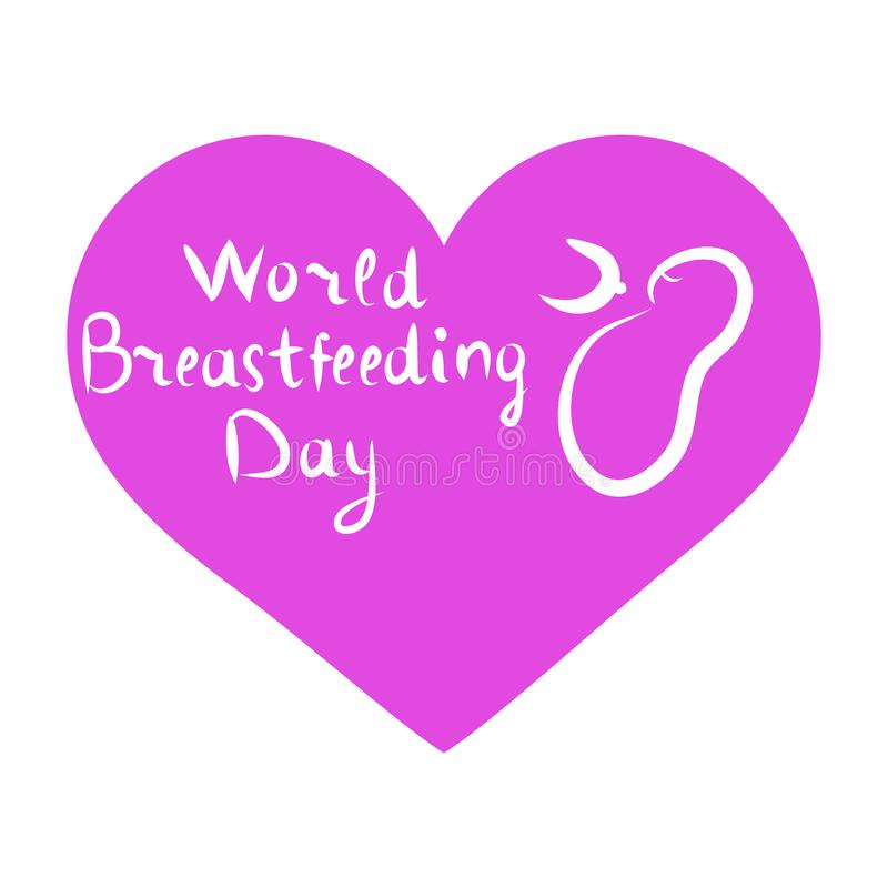 World Breastfeeding Day. Inscription lettering, doodle. Hand draw. The baby sucks his chest. Lilac heart. Vector illustration stock illustration