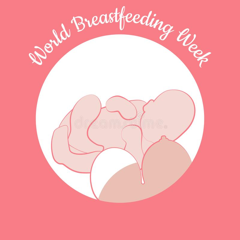 World Breastfeeding Week. Child and woman`s breast royalty free illustration