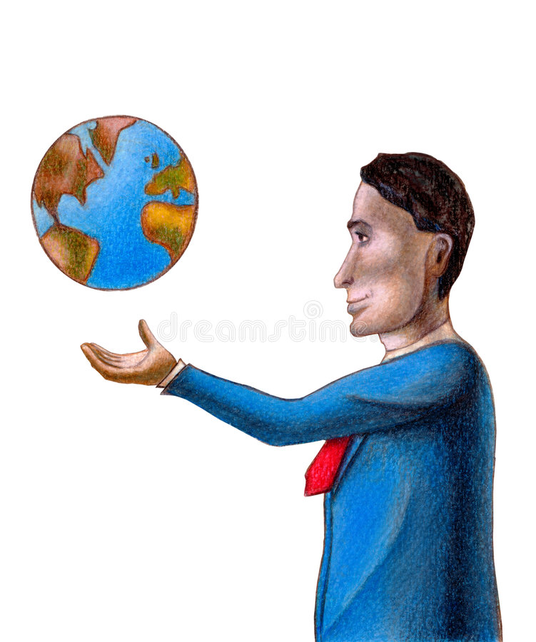 World business. Business man with the world floating over his hand. Hand drawn illustration royalty free illustration