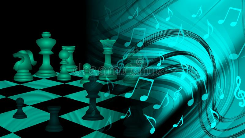 World Business Trade Strategy Chess with music nods background. technology communication . royalty free illustration