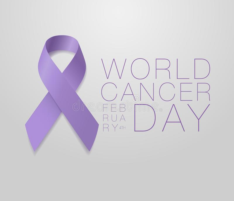 World Cancer Day. Calligraphy Poster Design. Realistic Lavender Ribbon. February 4 th is Cancer Awareness Day. Vector. Illustration royalty free illustration