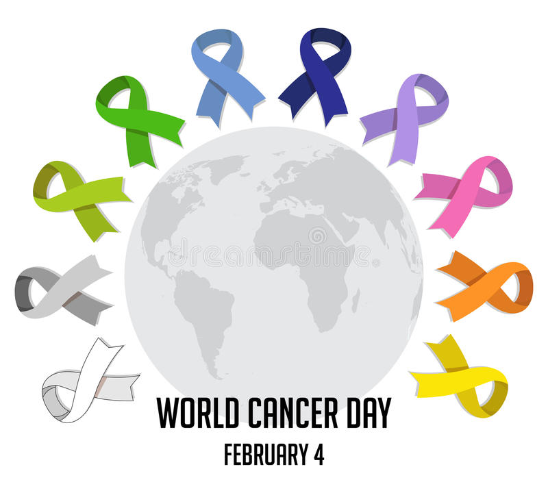 World cancer day. colorful awareness ribbons over white background. vector vector illustration