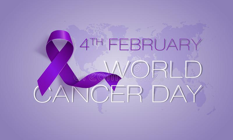 World Cancer Day concept. Lavender Ribbon. Vector illustration. World Cancer Day concept. Vector Illustration. Lavender Ribbon royalty free illustration
