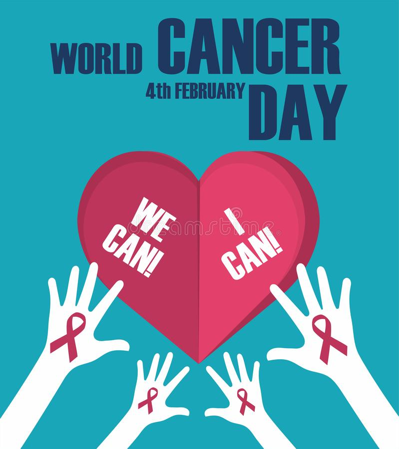 World cancer day concept. World cancer day banner, We can I can. Vector illustration royalty free stock image
