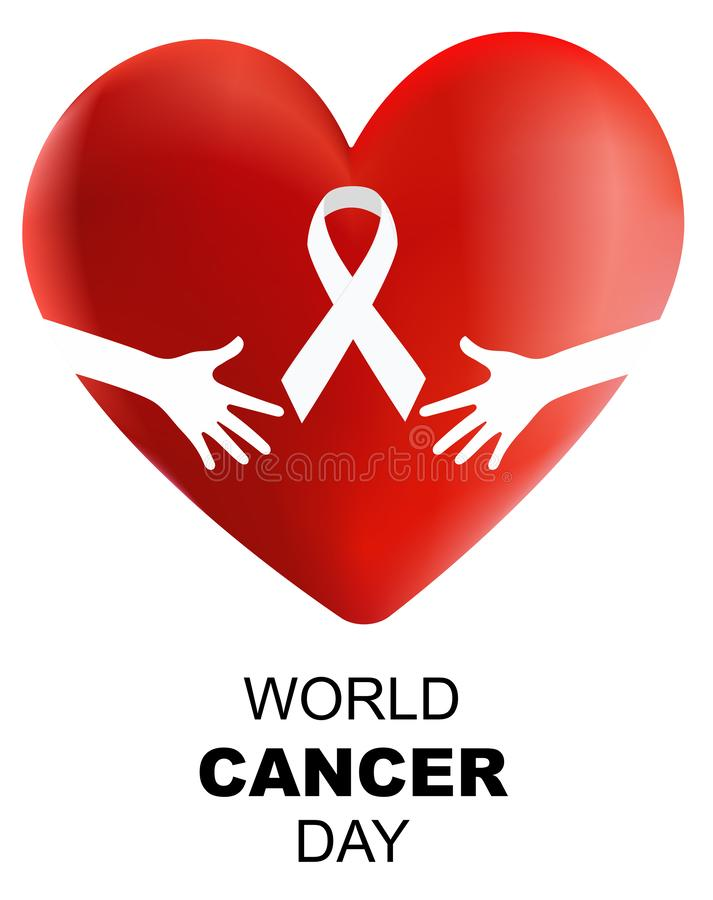 World Cancer Day , 3d heart vector illustration stock photo