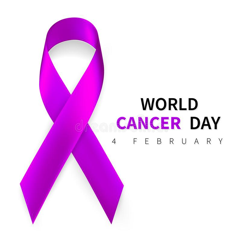 World cancer day symbol, 4 february. Ribbon symbol. Medical Design. Vector illustration.  royalty free illustration