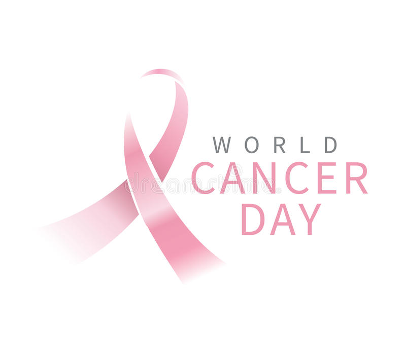 World cancer day vector design. World cancer day, vector design. Typography with pink ribbon. 4 february vector illustration