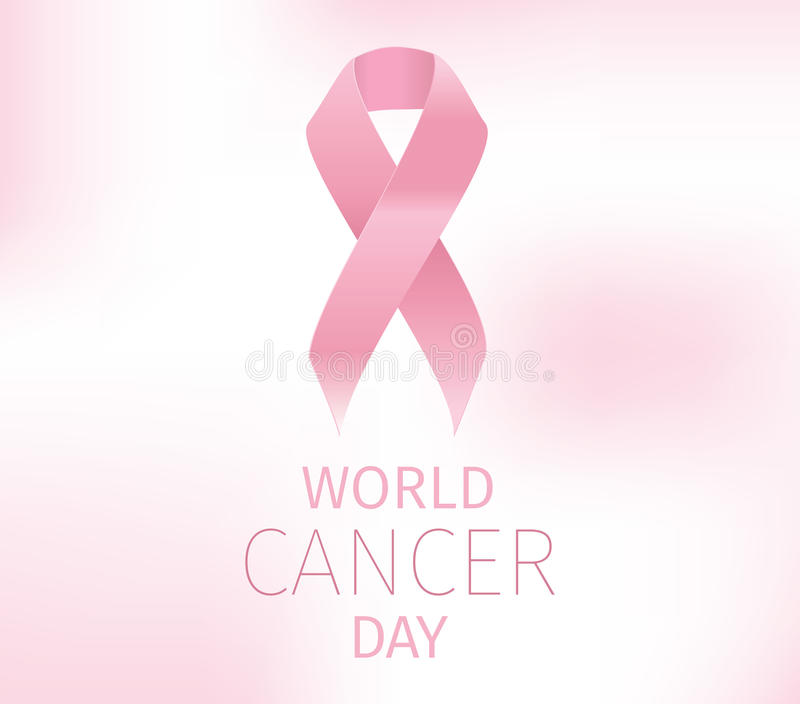 World cancer day vector design. World cancer day, vector design. Typography with pink ribbon. 4 february royalty free illustration