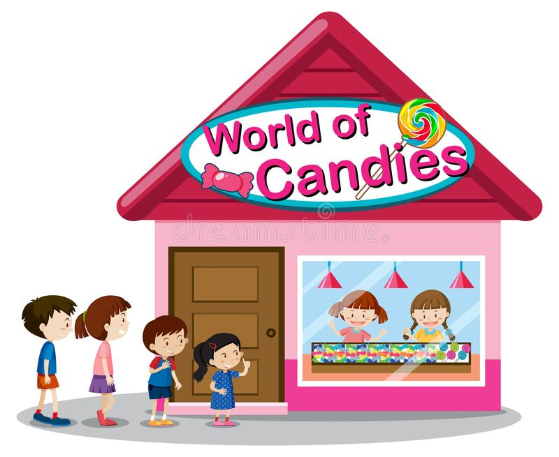 World of candies store. Illustration royalty free illustration