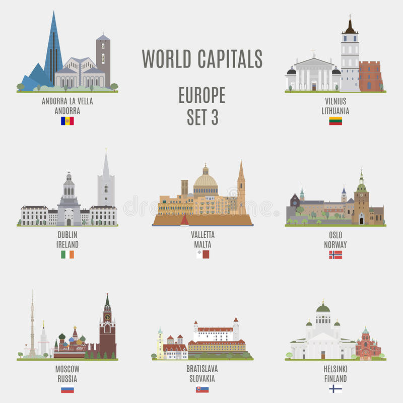 World capitals. Famous places of European cities vector illustration