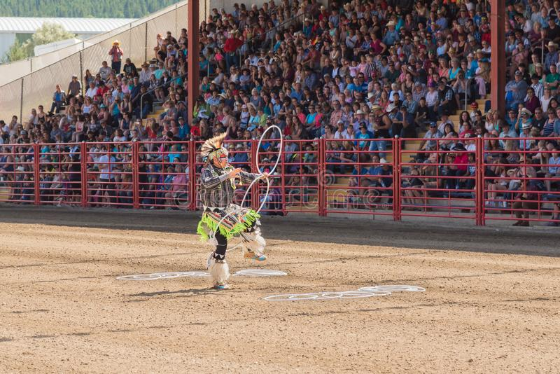 World champion hoop dancer Alex Wells performing at the Williams Lake Stampede stock photos