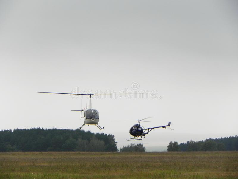 The world championship on helicopter sports. Competitions on helicopter sports. Details and close-up. The world championship on helicopter sports. Competitions stock images