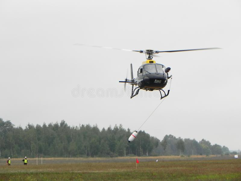 The world championship on helicopter sports. Competitions on helicopter sports. Details and close-up. The world championship on helicopter sports. Competitions royalty free stock photos