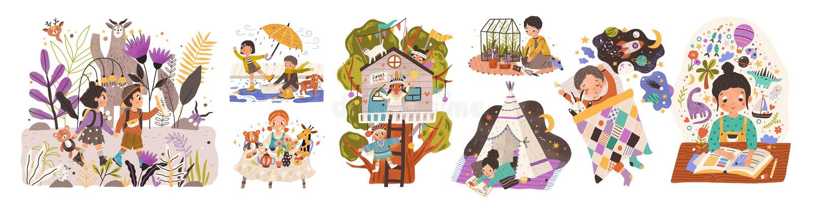 World of childhood flat vector illustrations set. Kids cartoon characters playing games and doing childish activities stock illustration