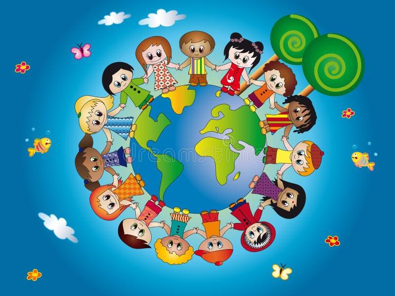 World of children. Illustration of children join hands around the world in blue background vector illustration