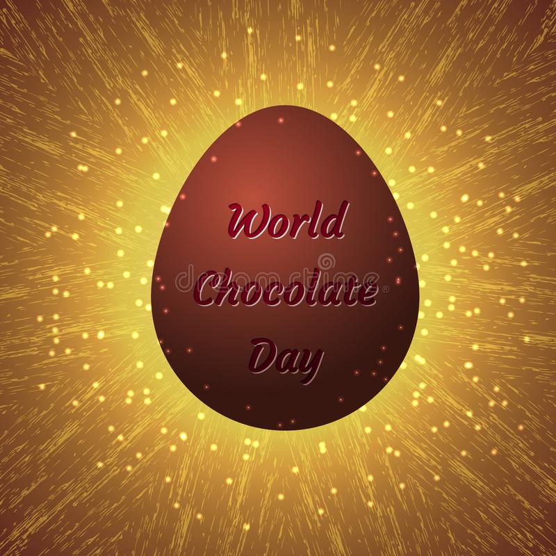 World Chocolate Day. 11 July. Chocolate egg with an inscription - the name of the event. Glowing grunge background with sparkles. World Chocolate Day. Concept of stock illustration