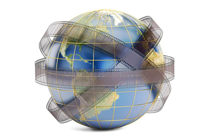World cinema and cinematography concept, 3D rendering. On white background royalty free illustration