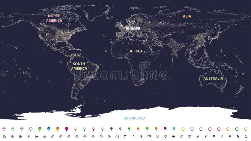 World city lights map with labeled continents in different colors and location icons vector illustration