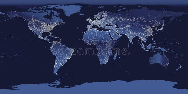 World city lights map. Night Earth view from space. Vector illustration. World city lights map. Night Earth view from space. Vector