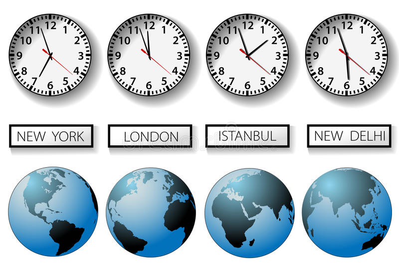 World city time zone clocks and globes royalty free illustration