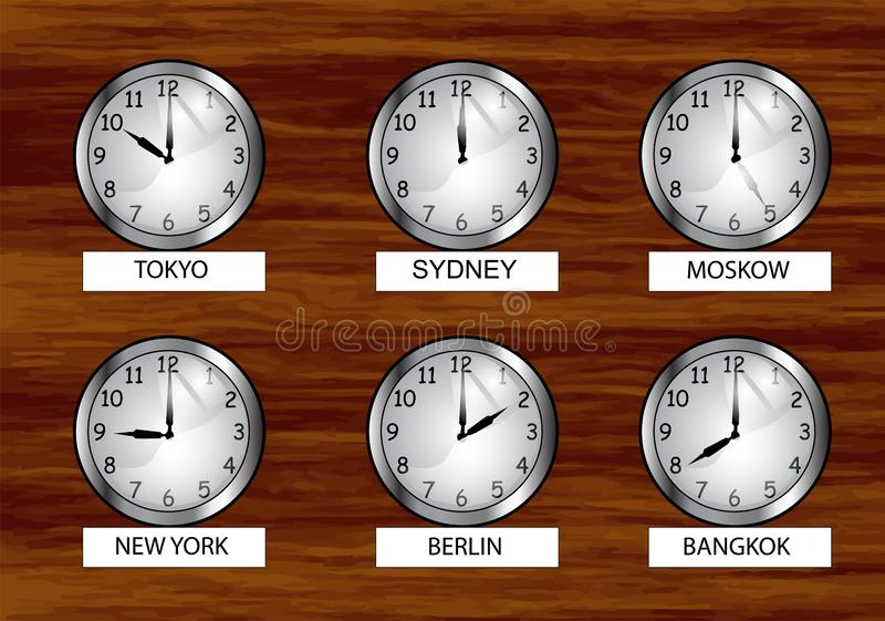 The world clock. Different time zones clock on the wooden wall vector illustration