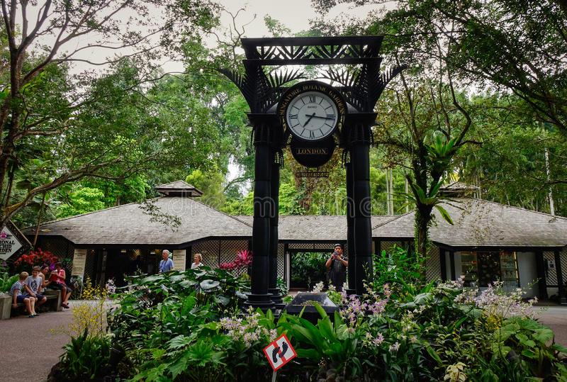 World clock in Singapore Botanic Gardens. Singapore - Dec 15, 2015. World clock near orchid garden in Singapore Botanic Gardens. The tropical garden is honored stock images