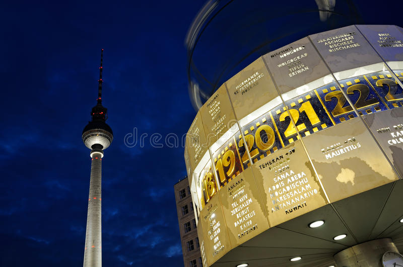 Download World Clock With The TV Tower Editorial Photo - Image: 19857381