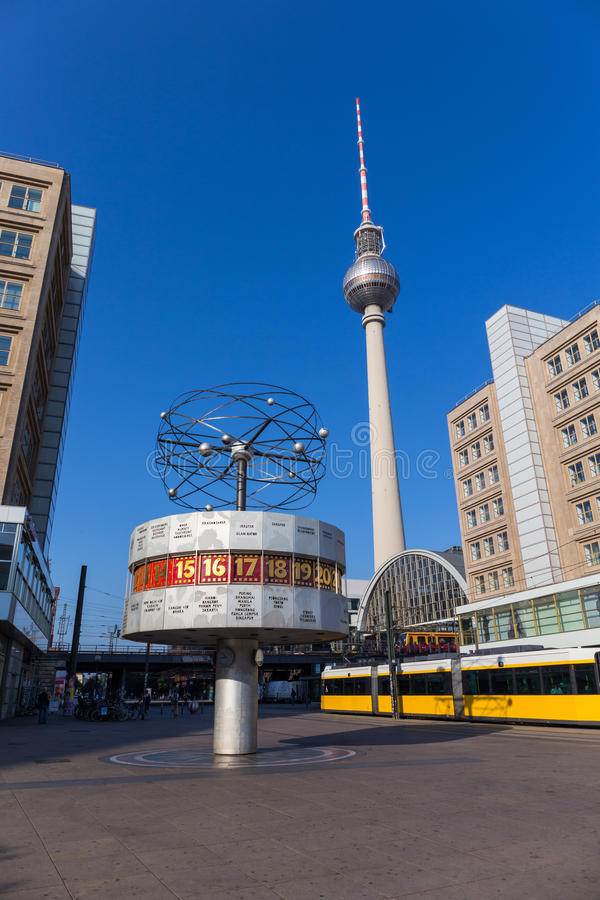 The World Clock (Weltzeituhr) at Alexanderplatz in Berlin royalty free stock photos